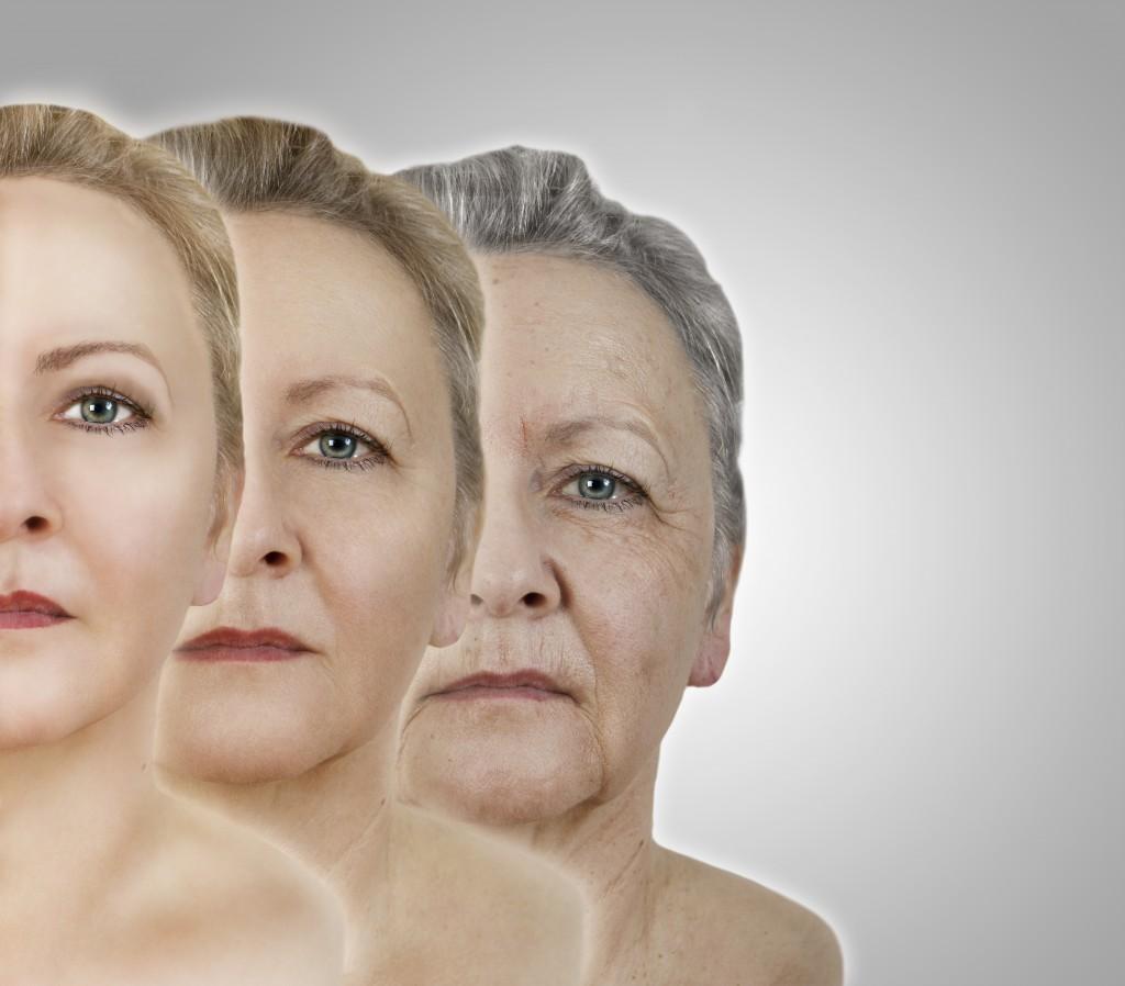 das Gesicht einer Frau jung und im alter